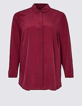 CURVE Pure Silk Long Sleeve Shirt, CLARET, catlanding