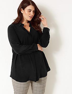 CURVE Pure Silk Long Sleeve Shirt, BLACK, catlanding