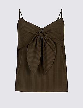 Cotton Rich Striped Tie Front Vest Top , DARK BROWN, catlanding