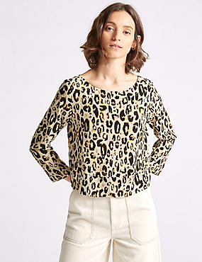 Animal Print Round Neck Long Sleeve Top , BROWN MIX, catlanding