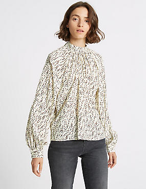 Spotted Funnel Neck Long Sleeve Blouse , IVORY MIX, catlanding