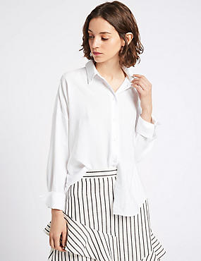 Long Sleeve Oversized Shirt, IVORY MIX, catlanding