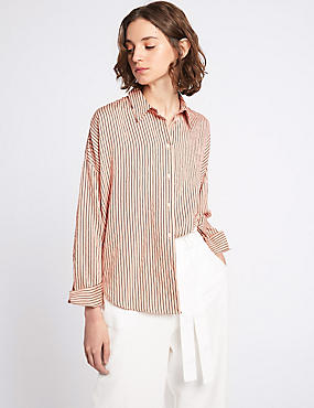 Dipped Hem Striped Long Sleeve Shirt