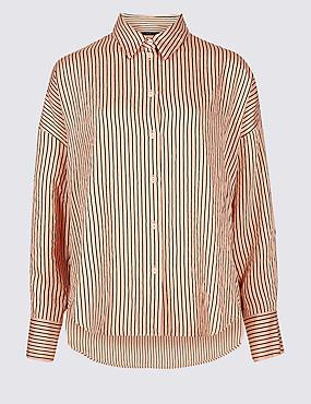 Dipped Hem Striped Long Sleeve Shirt , PINK MIX, catlanding