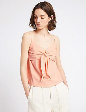Cotton Rich Textured V-Neck Vest Top , PINK, catlanding