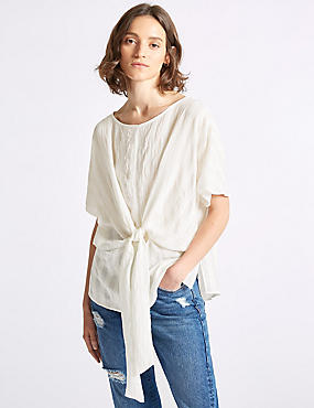 Striped Tie Front Half Sleeve Blouse, SOFT WHITE, catlanding