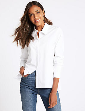 Pure Cotton Long Sleeve Shirt , SOFT WHITE, catlanding