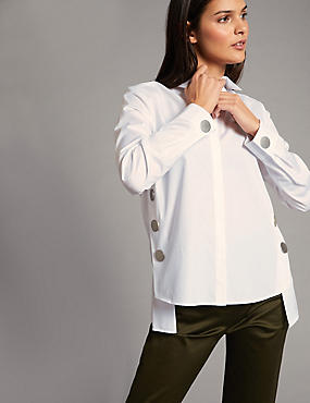 Pure Cotton Button Detail Long Sleeve Shirt, SOFT WHITE, catlanding