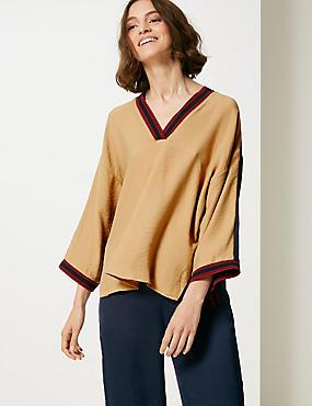 Textured V-Neck Long Sleeve Blouse , CAMEL MIX, catlanding