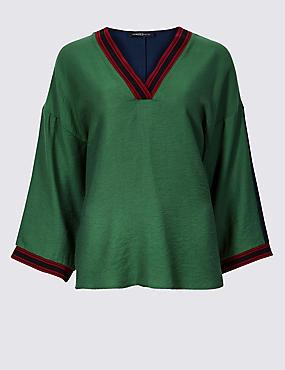 Textured V-Neck Long Sleeve Blouse , GREEN, catlanding