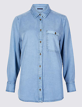 PETITE Long Sleeve Shirt , LIGHT DENIM, catlanding
