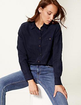 Tencel Long Sleeve Shirt, NAVY, catlanding
