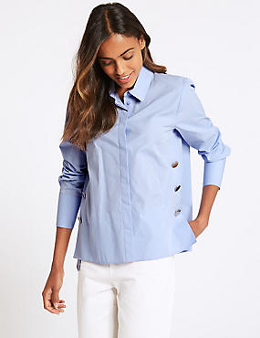 Pure Cotton Press Stud Long Sleeve Shirt , CHAMBRAY, catlanding