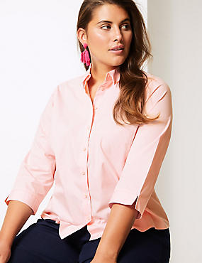 CURVE Cotton Rich 3/4 Sleeve Shirt, PINK, catlanding