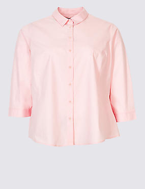 CURVE Cotton Rich 3/4 Sleeve Shirt