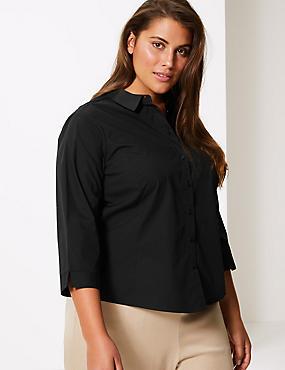 CURVE Cotton Rich 3/4 Sleeve Shirt, BLACK, catlanding