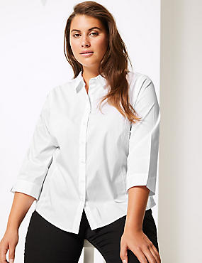 CURVE Cotton Rich 3/4 Sleeve Shirt, WHITE, catlanding