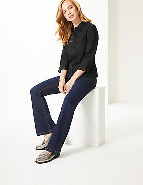 PETITE Cotton Rich 3/4 Sleeve Shirt, BLACK, catlanding