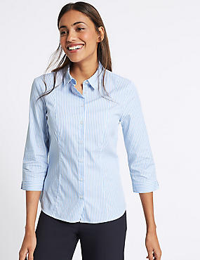 Cotton Rich Striped 3/4 Sleeve Shirt, BLUE MIX, catlanding