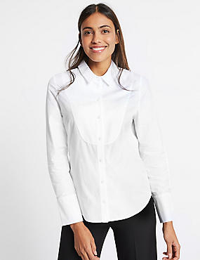Pure Cotton Stretch Bib Detail Shirt, WHITE, catlanding
