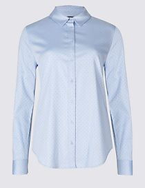 Cotton Rich Spotted Long Sleeve Shirt