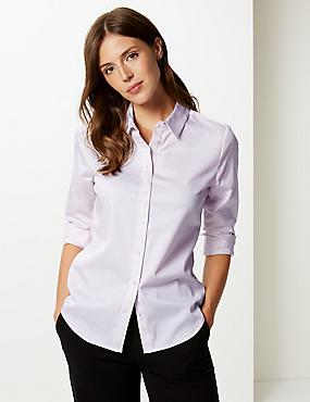Cotton Rich Striped Long Sleeve Shirt, PINK MIX, catlanding