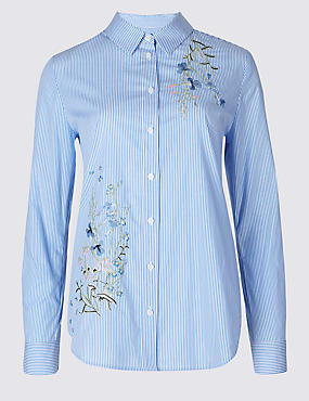 Cotton Rich Striped Floral Embroidered Shirt