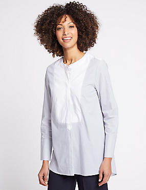 Pure Cotton Striped Long Sleeve Shirt, WHITE MIX, catlanding