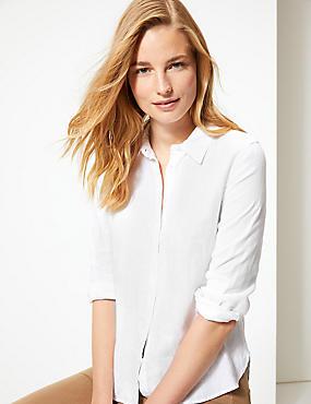 Pure Linen Long Sleeve Shirt, ECO WHITE, catlanding