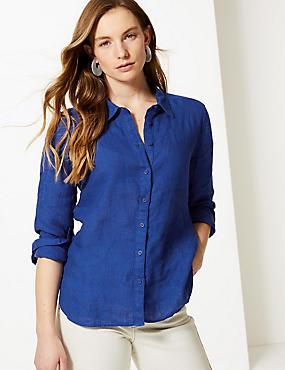 Pure Linen Long Sleeve Shirt, COBALT, catlanding