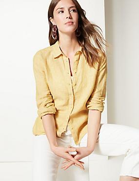 Pure Linen Long Sleeve Shirt, SOFT YELLOW, catlanding