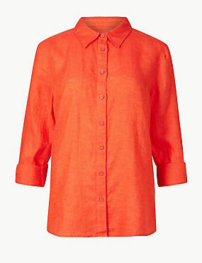 Pure Linen Long Sleeve Shirt, ORANGE, catlanding