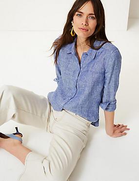 Pure Linen Long Sleeve Shirt, CHAMBRAY, catlanding