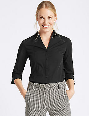 Cotton Rich ¾ Sleeve Shirt with Stretch, BLACK, catlanding