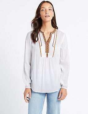 Embroidered Notch Neck Long Sleeve Blouse , IVORY MIX, catlanding