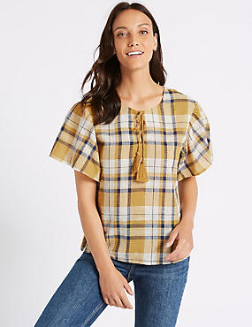 Pure Cotton Checked Half Sleeve Blouse , YELLOW MIX, catlanding