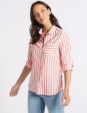 Pure Cotton Striped Long Sleeve Shirt , RED MIX, catlanding