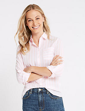 Pure Cotton Striped Long Sleeve Shirt , PALE PINK MIX, catlanding