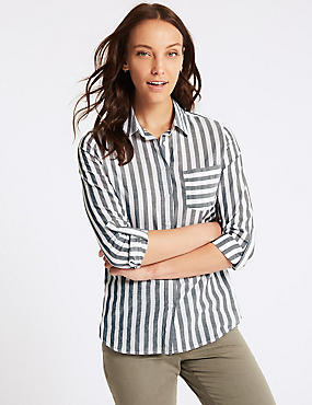 Pure Cotton Striped Long Sleeve Shirt , GREY MIX, catlanding