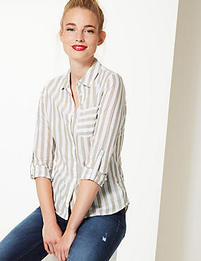 Pure Cotton Striped Long Sleeve Shirt , FLAX MIX, catlanding