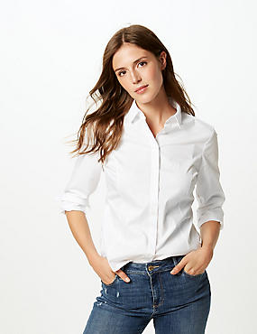 Cotton Rich Long Sleeve Shirt , WHITE, catlanding