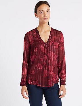 Striped Floral Popover Long Sleeve Blouse, PINK MIX, catlanding