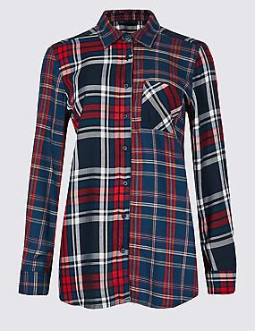 PETITE Checked Longline Long Sleeve Shirt  , NAVY MIX, catlanding