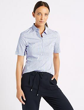 Cotton Rich Striped Short Sleeve Shirt  , BLUE MIX, catlanding