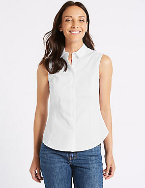 Cotton Rich Sleeveless Shirt, WHITE, catlanding