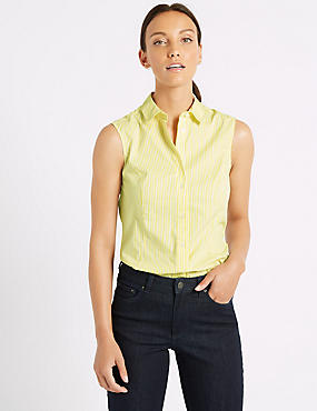 Cotton Rich Striped Sleeveless Shirt, YELLOW MIX, catlanding