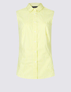 Cotton Rich Striped Shirt, YELLOW MIX, catlanding