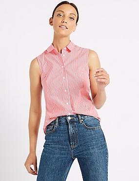 Cotton Rich Striped Shirt , RED MIX, catlanding