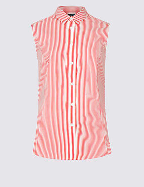 Cotton Rich Striped Shirt , RED MIX, catlanding