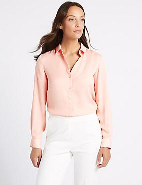Satin Long Sleeve Shirt , BLUSH, catlanding
